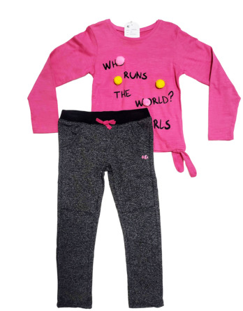Conjunto de leggings de niña de pompones