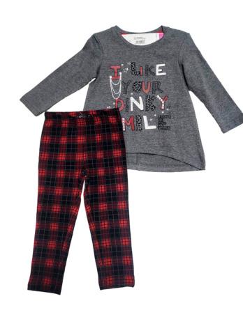 Conjunto de leggings de niña cuadros escoceses