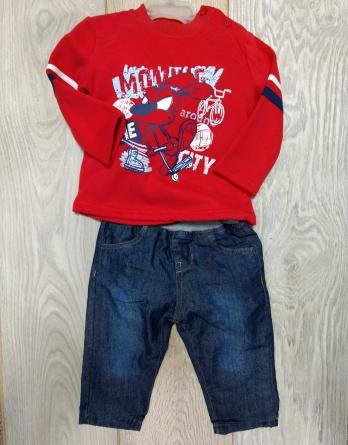 c3a990155 Conjunto de niño vaquero con sudadera roja