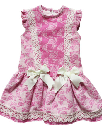 Vestido de niña flores rosa chicle 50052