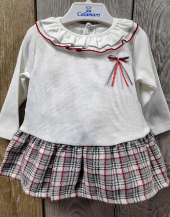 Vestido de niña crudo de cuadros escoceses 21190