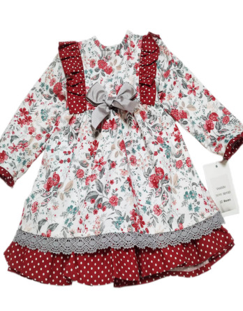 Vestido de niña rojo y gris manga francesa 50102