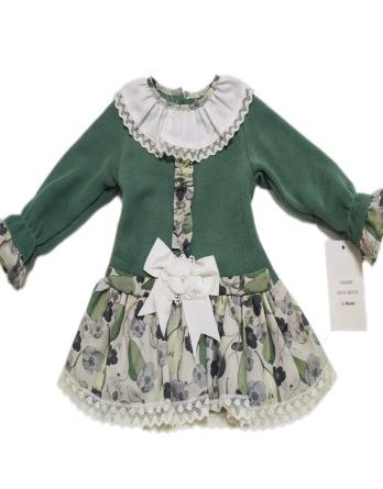 Vestido de niña verde y gris manga francesa 50113