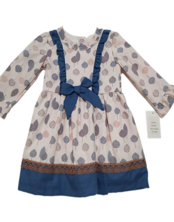 Vestido de niña rosa y azul manga francesa 50183