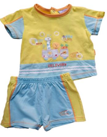 Conjunto de niño bebé verano m/c amarillo 1111