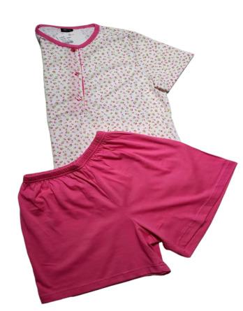 Pijama de señora verano m/c florecillas fucsia 11119