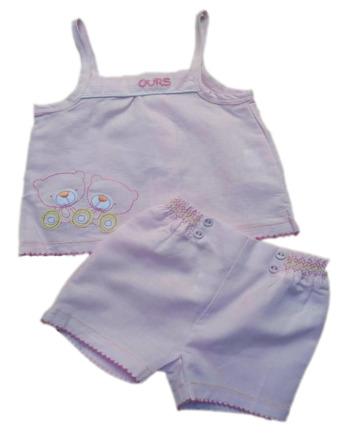 Conjunto de niña bebé verano tirantes lino rosa 1178