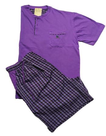 Pijama de caballero verano m/c tela cuadros morados 11S317B