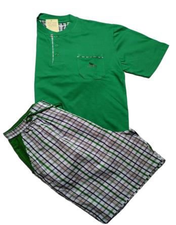 Pijama de caballero verano m/c tela cuadros verdes 12C4