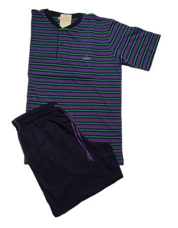 Pijama de caballero verano m/c rayas morado 12P01