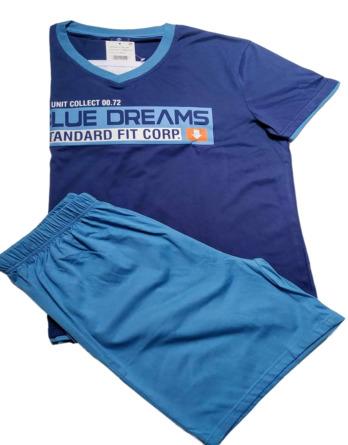 Pijama de caballero verano m/c azul 14106
