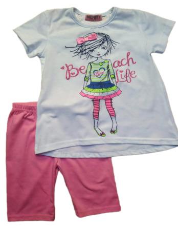 Conjunto de niña m/c legging fucsia 15127