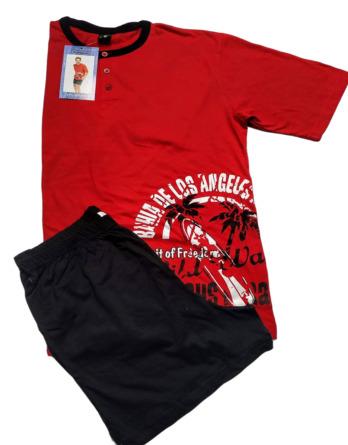 Pijama de caballero verano m/c rojo y negro 155008