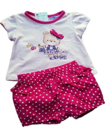 Conjunto de niña bebé verano pantalón corto fucsia topos 16109184