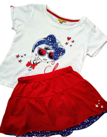 Conjunto de niña falda roja de volantes 16109308