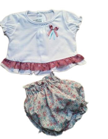 Conjunto de niña bebé verano pantalón coulotte flores 17317
