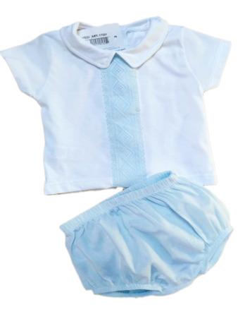 Conjunto de niño bebé verano vestir celeste algodón 17321