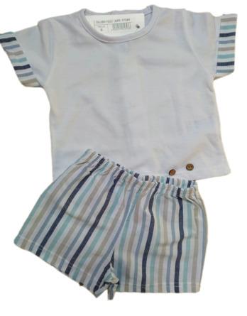 Conjunto de niño bebé verano pantalón corto rayas 17324