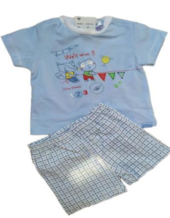 Conjunto de niño bebé verano m/c pantalón cuadros celeste 18105114