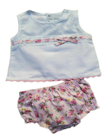 Conjunto de niña bebé verano s/m flores rosa coulotte 18105158