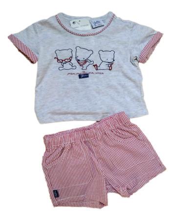 Conjunto de niño bebé verano pantalón cuadros rojo 18105169