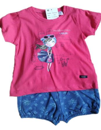 Conjunto de niña pantalón corto y camiseta manga corta