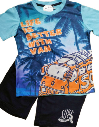 Conjunto de niño verano m/c pantalón corto azul y naranja 18115404