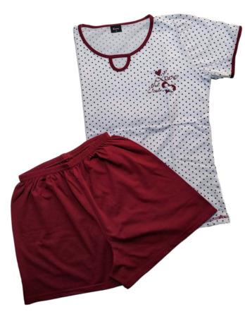 Pijama de señora verano m/c blanco y granate 21066