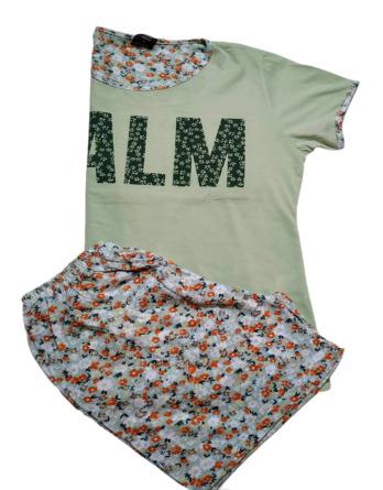 Pijama de señora verano m/c florecillas verde 21205