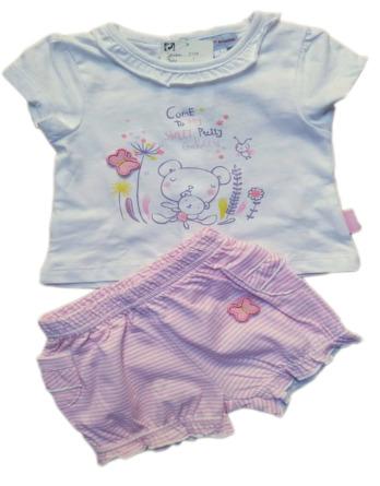 Conjunto de niña bebé verano rayas rosa coulotte 2134