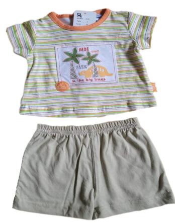 Conjunto de niño m/c bebé verano kaki 3133