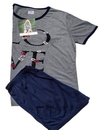 Pijama de señora verano m/c marino y gris 41502