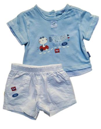 Conjunto de niño m/c bebé verano celeste algodón 4174