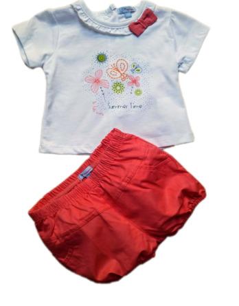 Conjunto de niña m/c bebé verano pantalón coulotte 4192