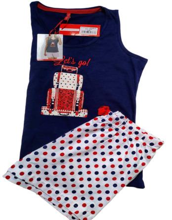Pijama de señora verano s/m topos marino y rojo 50385