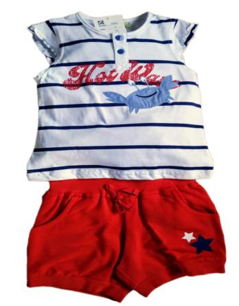 Conjunto de niña verano camiseta cangrejo rayas marino 5303