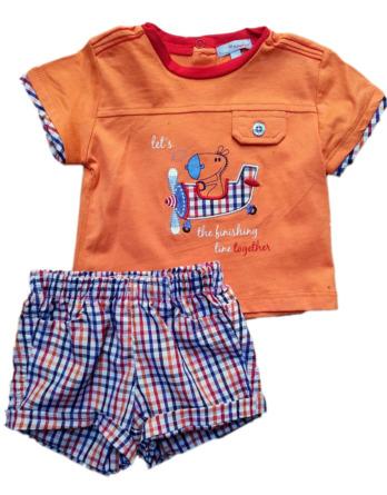 Conjunto de niño m/c bebé verano cuadros naranja tela 7163