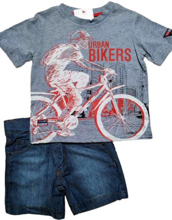 Conjunto de niño verano m/c pantalón vaquero corto bike 7410