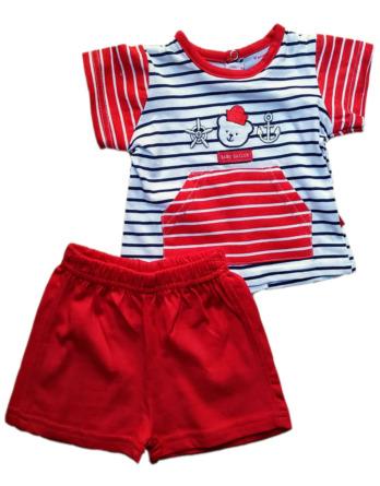 Conjunto de niño m/c bebé verano marinero rojo algodón 9120