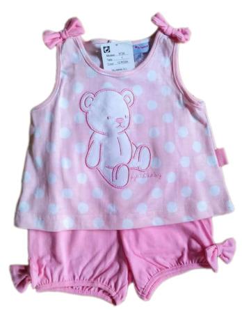 Conjunto de niña tirantes bebé verano pantalón corto rosa 9134