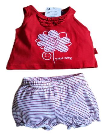 Conjunto de bebé niña verano pantalón corto rayas rojo 9136