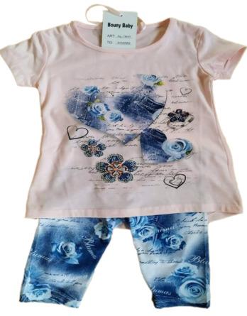 Conjunto de niña verano legging pirata azul/rosa AL1641