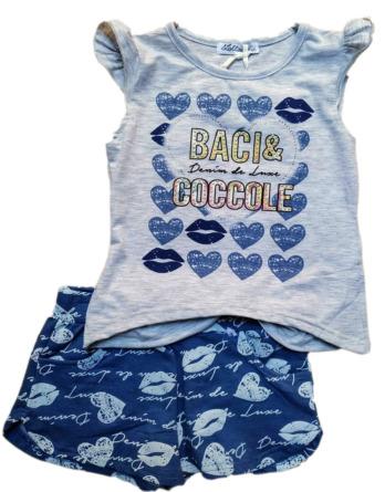 Conjunto de niña verano tirantes gris y azul besos y corazones B5149