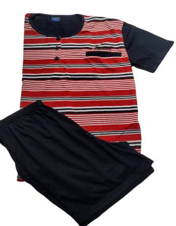 Pijama de caballero verano m/c rayas marino y rojo F716