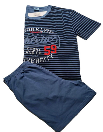 Pijama de caballero verano m/c rayas azul
