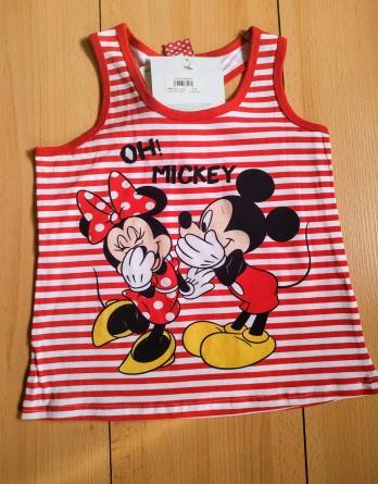Camiseta de niña s/m minnie y mickey rayas rojas y blancas N05
