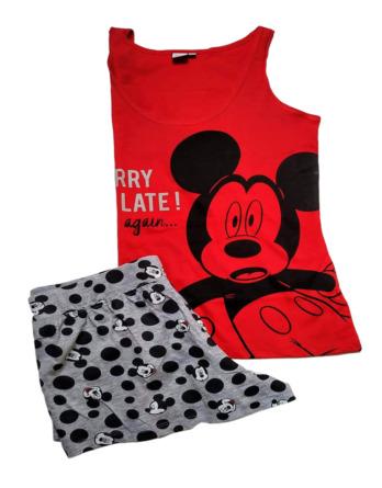 Pijama de señora verano tirantes Mickey rojo y gris SE3593