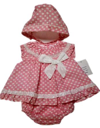 Jesusito de bebé niña topos crudo y rosa con braguita y capota10021