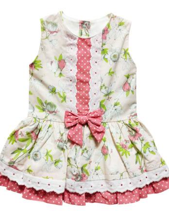 Vestido de niña flores salmón y verde 1014_40291
