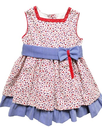 Vestido de niña flores rojo y marino 1020